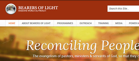 Website for Bearers of Light Missions